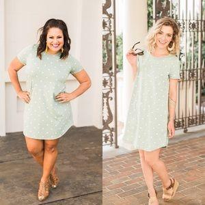 Dresses & Skirts - Sage polka dot dress